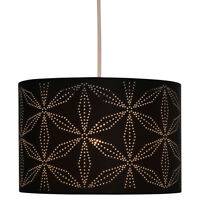 Brodie Laser Cut Out Dot Black Floral Easy Fit Drum Ceiling Light Shade