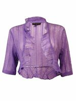 Connected Apparel Women's Open Ruffled Lace Cardigan