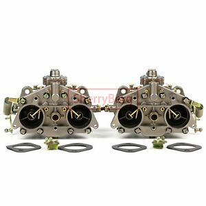 Chrome Carburetor Pair for PORSCHE 356/912 40 PII-4 Weber SOLEX TYPE 40P11