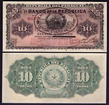 Paraguay 10 Pesos 1912 WITH OVERPRINT - RARE - P 129 - UNC