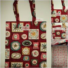 CATH KIDSTON Red Clocks Cotton Book Bag/ Shopping Tote Bag BNWT + CK Gift Bag