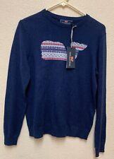 Vineyard Vines Boys L(16) Whale Isle Intarsia Cotton Slub Sweater Blue
