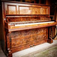 C. Bechstein Burr Walnut Antique German Upright Piano