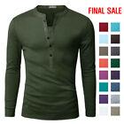 [FINAL SALE]Doublju Mens Basic Slim Fit Long Sleeve Henley Shirts
