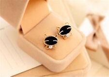 Fashion Cute Earrings Black Smiley Cat Rhinestone Earrings Fine Elite Earrings