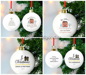 PERSONALISED BAUBLE 1st First CHRISTMAS In Our NEW HOME Married for Gifts Ideas