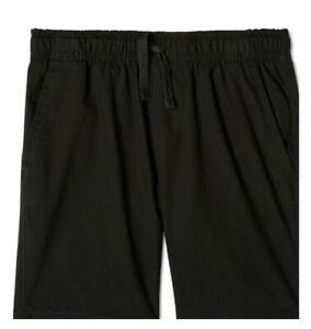 Wonder Nation Black Chino Pull On Shorts School Uniform Approved Boy's XL, 14-16