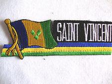 "NEW Saint Vincent Flag 4.25"" x 1.5"" Iron On Patch Black Back Badge Ready Glue"