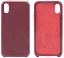 Genuine Cowhide Burgundy Leather Cell Phone Case for iPhone X & XS