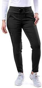 Adar Pro Scrubs for Women - Ultimate Yoga Jogger Scrub Pants Black Large