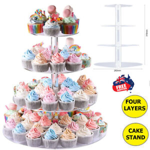 4-Tier Acrylic Round Cake Cupcake Stand Tower for Birthday Wedding Party Stand ~