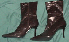 FIONI BROWN ANIMAL SKIN MID CALF BOOTS-SIZE 8 1/2W-NEW WITHOUT BOX