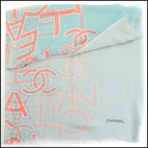 RDC11112 Authentic Chanel Blue/Pink/Ivory Cashmere Scarf Wrap