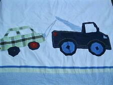 Pottery Barn Kids Coltons Car Shower Curtain Blue Green Gingham Ticking Stripe