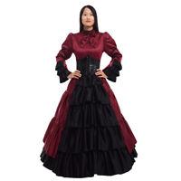 Women Civil War Bowknot Corset Ruffled Dress Bustle Ball Gown Victorian Costume