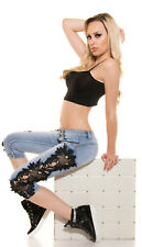 Sexy KouCla Push Up Capri Jeans Hose Mit Spitze  S 36 Stretch