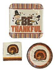 Peanuts Snoopy Be Thankful Thanksgiving Paper Dinner Dessert Plates & Napkins