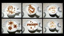 DISNEY FROZEN Set of 6pcs Cacao Chocolate Milk Stencils Strew Airbrushin Dusting