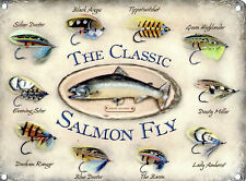 New 15x20cm Classic Salmon Fly retro small metal advertising wall sign