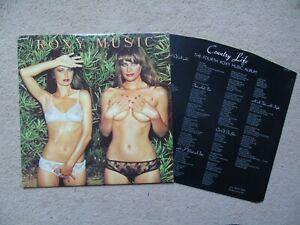 Roxy Music Country Life UK Pink Rim Island LP 1st Issue + lyric inner