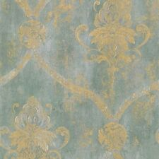 CS27331 - Classic Silks 3 Damask Aqua Gold  Wallpaper FREE SHIPPING