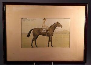 Antique 1920s F&G Colour Print. Horse Racing. 1925 Epsom Derby Winner MANNA