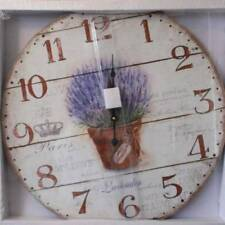 "Lavender Wall Clock Floral 22"" French Country XL Large Prim Vintage Wood Look"