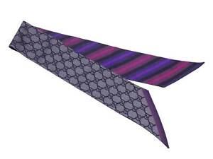 Auth Gucci GG Ribbon Scarf Gray/Black/Multicolor 100% Silk - e49568a