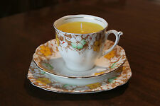 Teacup candle trio, Bell China, yellow green white flowers, floral scent wax