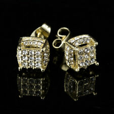 Women's White Sapphire Gems Yellow Gold Filled Brilliant Screwback Stud Earrings