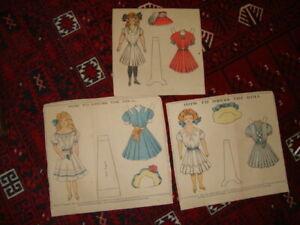 Antique newspaper paper dolls, uncut