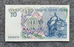 SWEDEN 10 KRONOR 1968 JUBILEE UNC