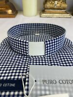Check Clergy Clerical Shirt - Italian Made - Cotton - Money Back Guarantee!!!