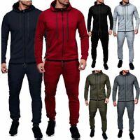 Men's Full Zip Up Hoodie Hooded Zipper Sweatshirt Long Sleeve Sports Gym Tops
