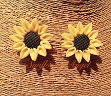 Handmade Polymer Sunflower Stud Earrings, For Pierced Ears.