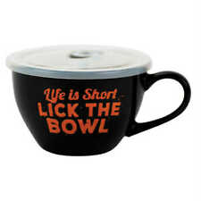 Boston Warehouse 22 Oz Souper Bowl Soup Mug with Lid, Lick the Bowl