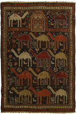 19th Century Caucasian Shirvan Camel, Dark Blue and Orange Rug BB5356