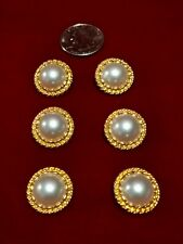 "BUTTONS LOT of 6 - 1""  Shank Pearlized Center/Gold Tint Metal"