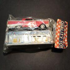 Vintage Tin Car & Trailer Camper Friction Powered MRK Quality Toy Japan 1960's
