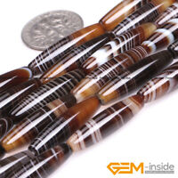 """6x26mm Natural Assorted Agate Gemstone Olivary Rice Beads For Jewelry Making 15"""""""