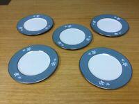 "5 FLINTRIDGE china MISTY LEAF 6 1/4"" Bread Plates - Excellent"