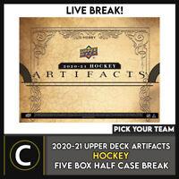 2020-21 UPPER DECK ARTIFACTS HOCKEY 5 BOX HALF CASE BREAK #H1168 -PICK YOUR TEAM
