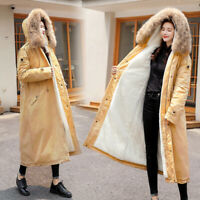 Women Fur Lined Parka Coat Winter Thick Warm Oversized Hooded Fur Collar Outwear
