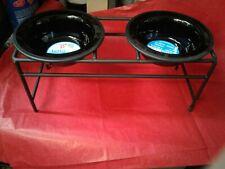 Platinum Pets Modern Raised Double Diner Feeder, Medium 28 oz, Black