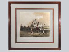 GRANDE  LITHOGRAPHIE ANCIENNE encadrée, Carle Vernet,  jockey, courses, chevaux