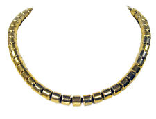 Gorgeous precious stone necklace made of Gemstones Pyrite In Form of Cylinder