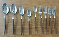 Ekco Eterna Canoe Muffin 9 pieces. Japan Stainless Flatware Faux Wood Handle