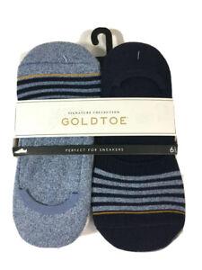 Goldtoe Signature Mens Invisible Socks 6-12.5 Large 6 Pairs Multi