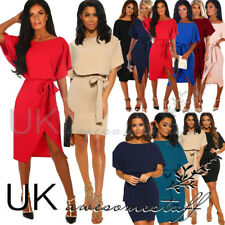 UK Womens Batwing Belted Split Evening Party Business Midi And Mini Dress 6 - 16