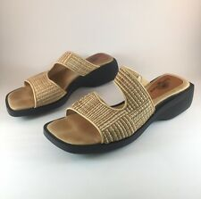 TOMMY BAHAMA Wicker Weave Wedge Slides Slip On Sandals Womens Size 5